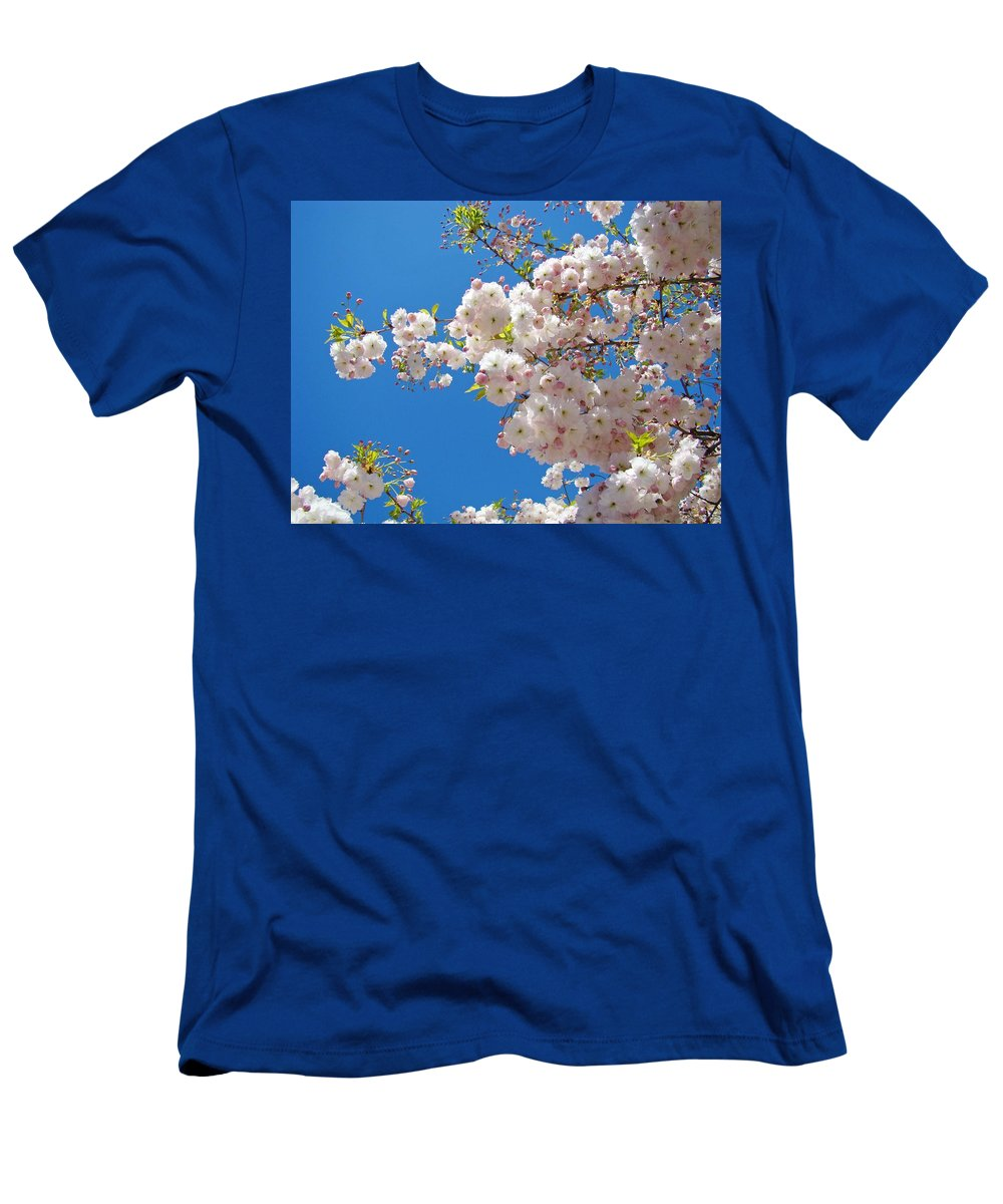 �blossoms Artwork� Men's T-Shirt (Athletic Fit) featuring the photograph Pink Tree Blossoms Art Prints 55 Spring Flowers Blue Sky Landscape by Baslee Troutman