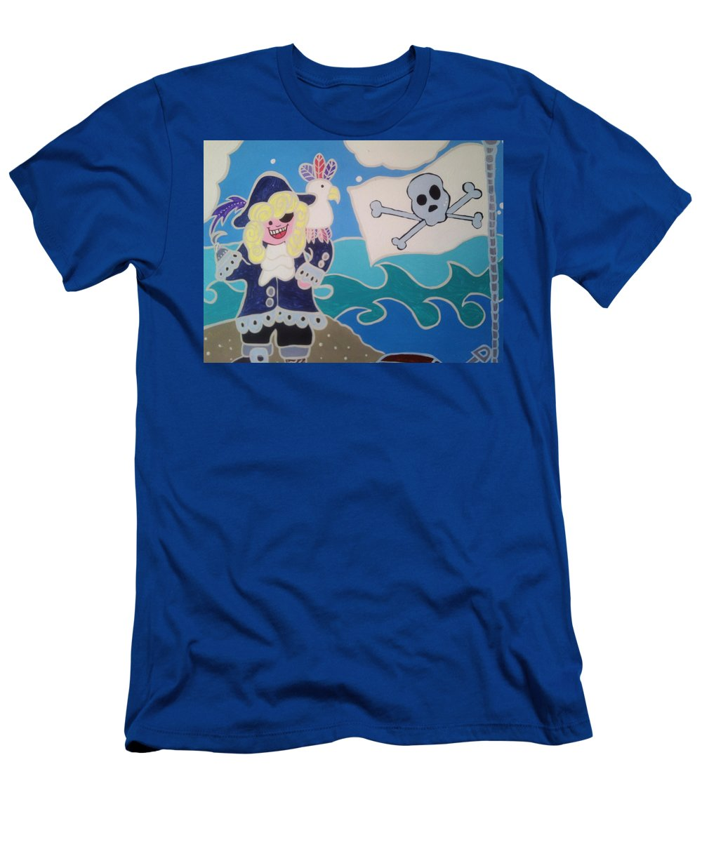 Boys Room Men's T-Shirt (Athletic Fit) featuring the painting Pirate Captain by Anne Robinson
