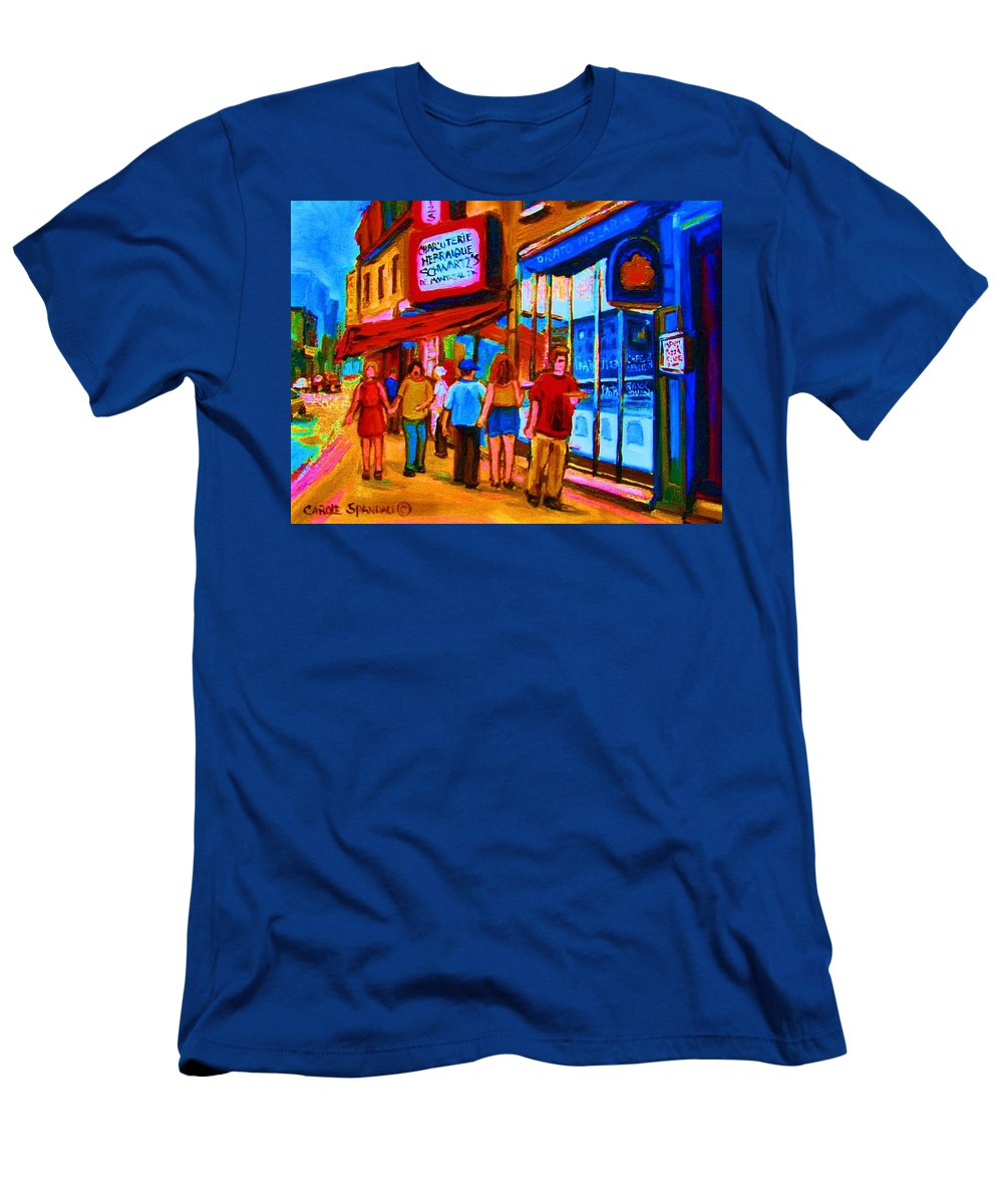 Schwartzs Hebrew Deli Men's T-Shirt (Athletic Fit) featuring the painting Pizza To Go by Carole Spandau