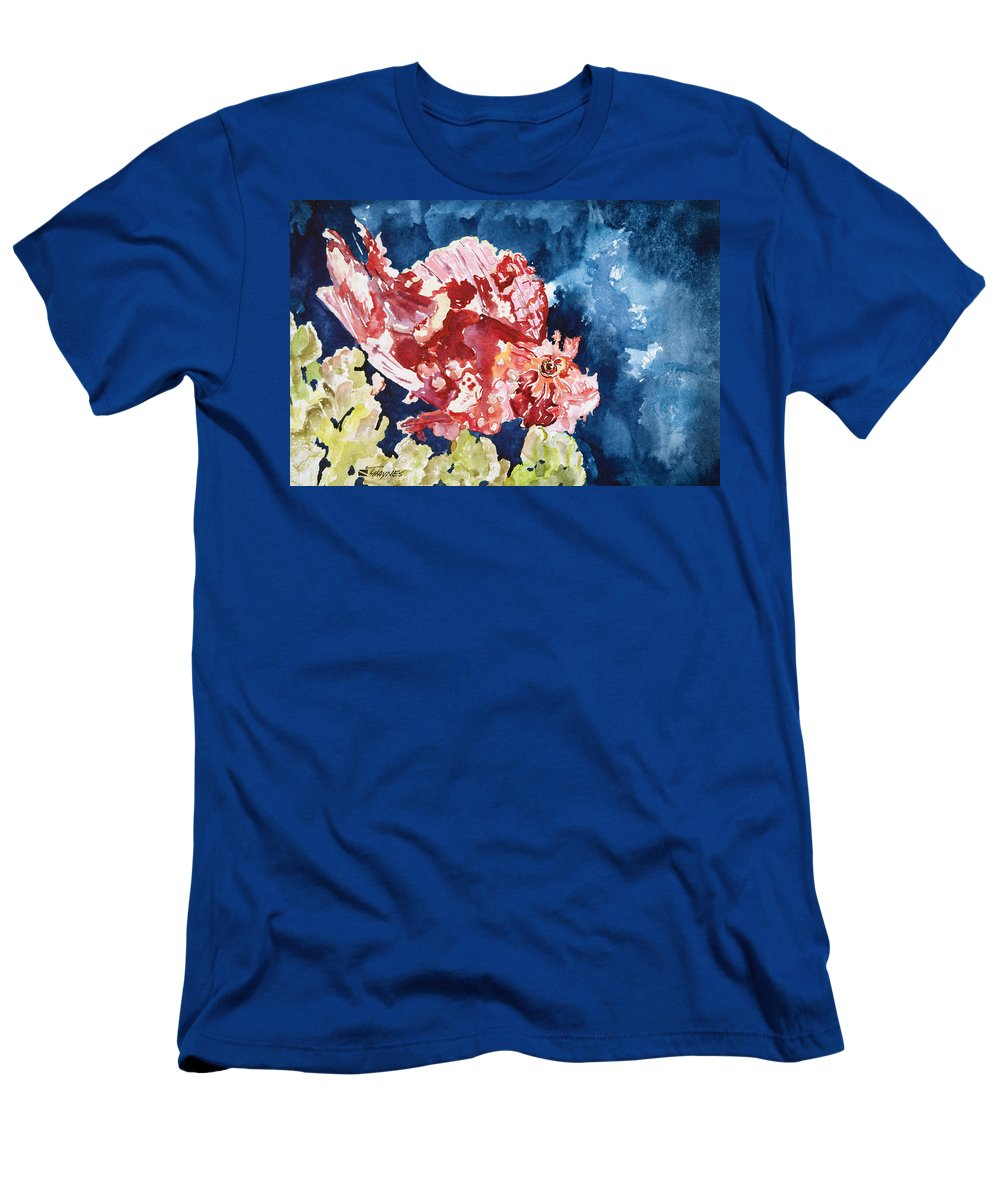 Animal Art Men's T-Shirt (Athletic Fit) featuring the painting Png Leaf Fish by Tanya L Haynes - Printscapes