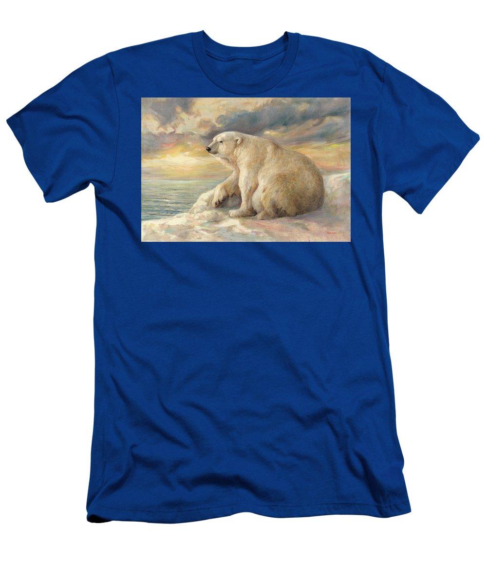 Polar Bear T-Shirt featuring the painting Polar Bear Rests On The Ice - Arctic Alaska by Svitozar Nenyuk
