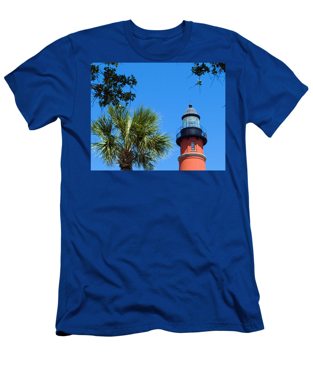 Ponce; De; Leon; Lighthouse; Light; House; Beacon; Navigation; Aid; Lens; Fresnel; Mosquito; Florida Men's T-Shirt (Athletic Fit) featuring the photograph Ponce Del Leon Inlet Florida by Allan Hughes