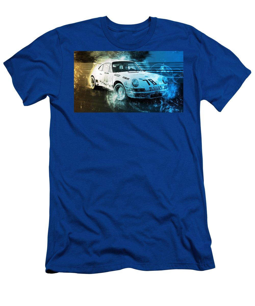 Porsche Rsr Men's T-Shirt (Athletic Fit) featuring the digital art Porsche Carrera Rsr, 1973 - 23 by Andrea Mazzocchetti