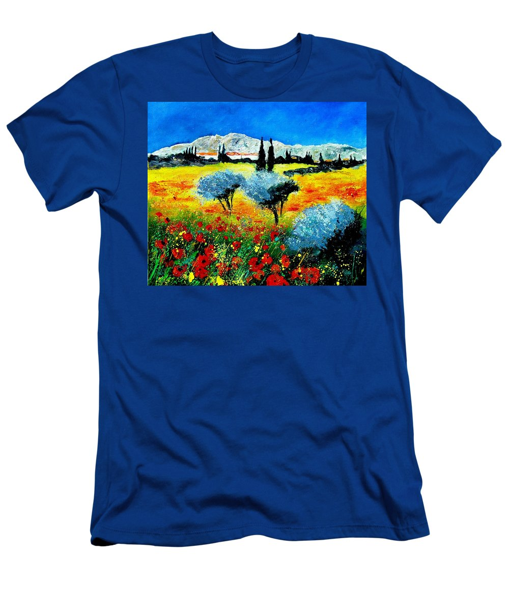 Poppies Men's T-Shirt (Athletic Fit) featuring the painting Provence by Pol Ledent