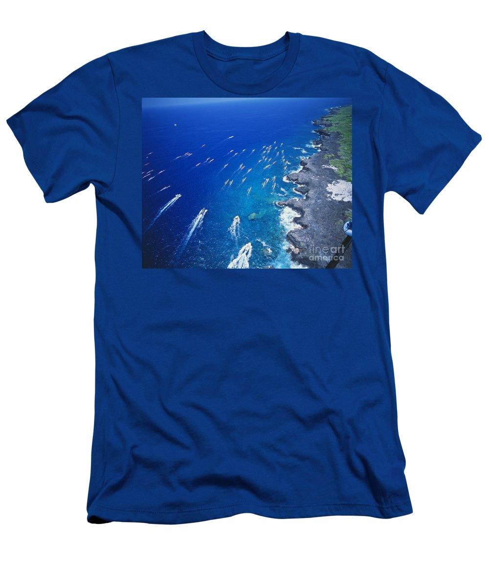 Above Men's T-Shirt (Athletic Fit) featuring the photograph Queen Liliuokalani Canoe Race by Peter French - Printscapes