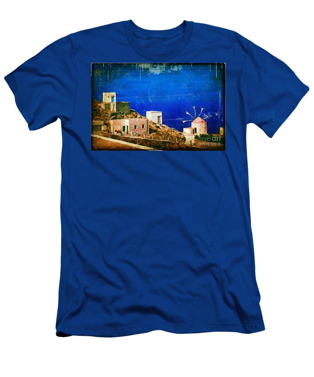 Greece Men's T-Shirt (Athletic Fit) featuring the photograph Quiet Day - Olympos - Karpathos Island - Greece by Silvia Ganora