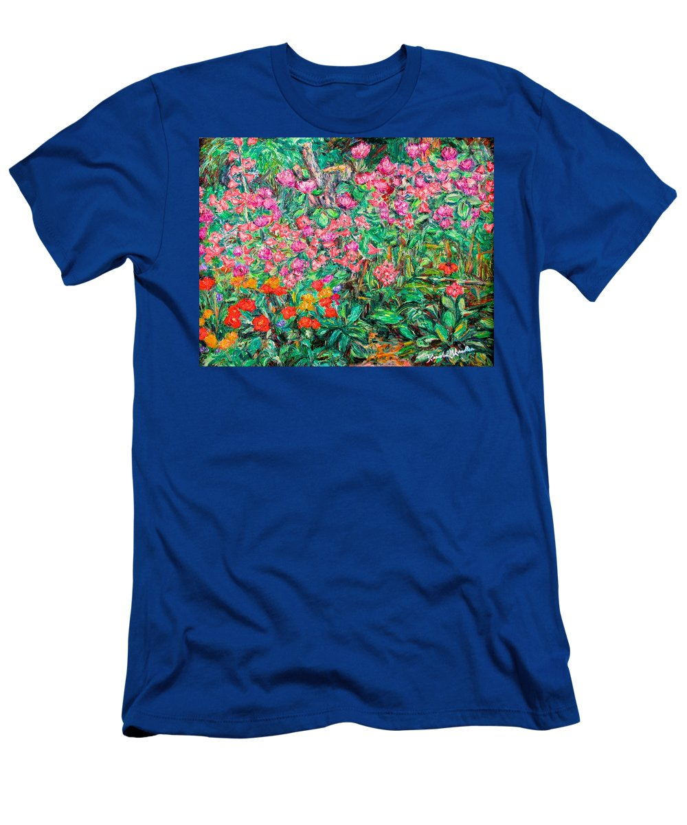 Kendall Kessler Men's T-Shirt (Athletic Fit) featuring the painting Radford Flower Garden by Kendall Kessler