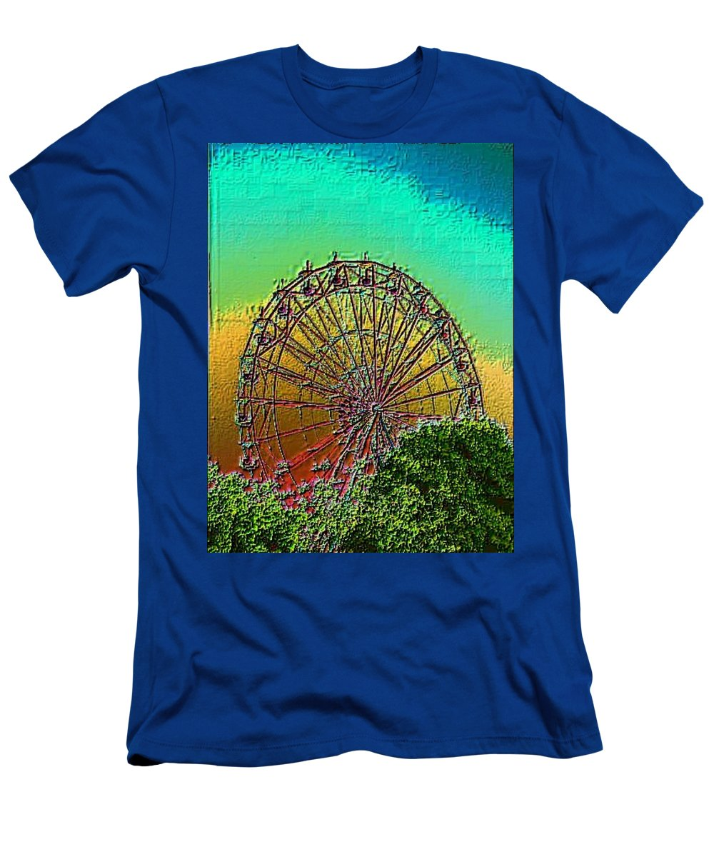 Rainbow Men's T-Shirt (Athletic Fit) featuring the photograph Rainbow Ferris Wheel by Tim Allen