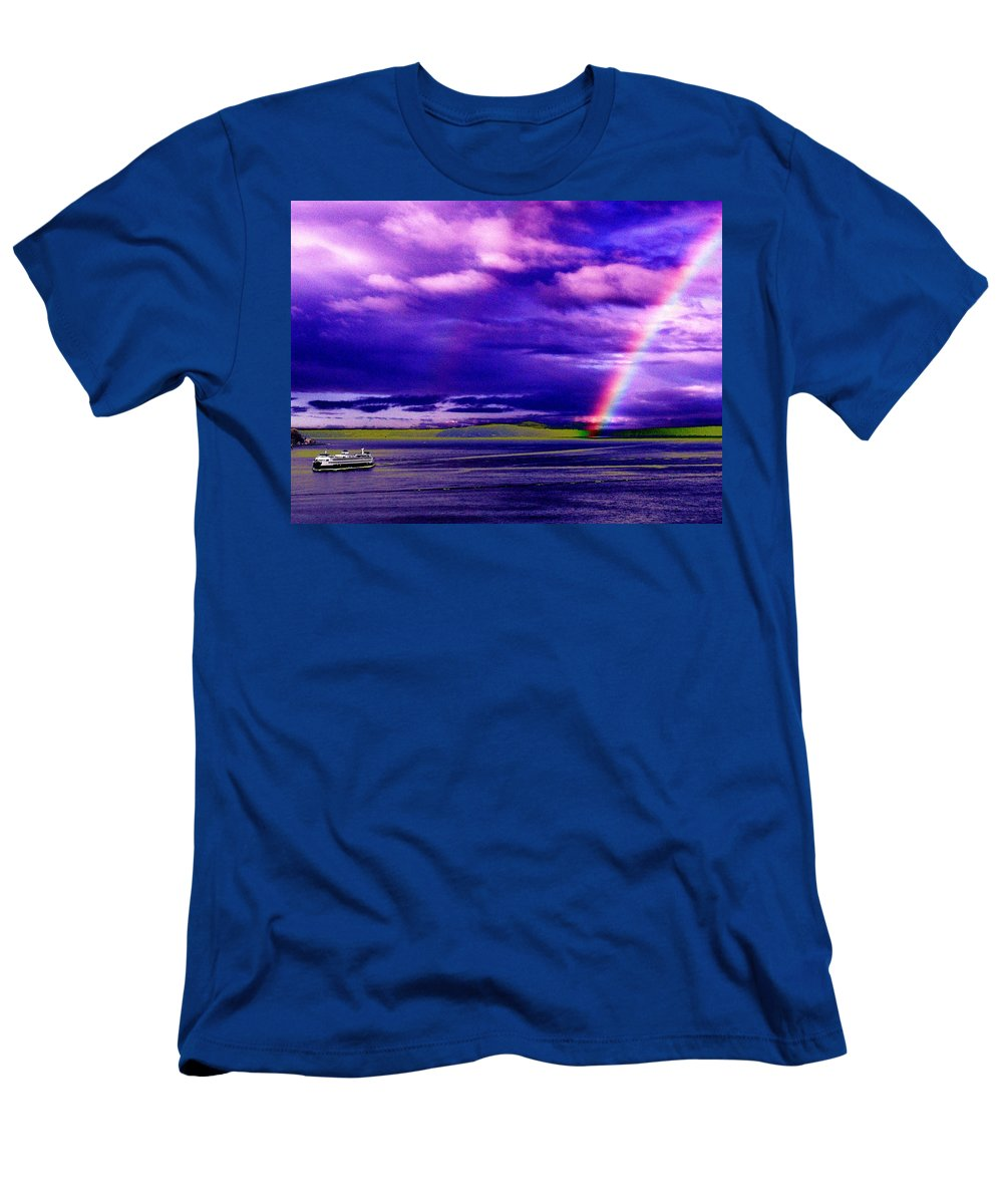 Seattle Men's T-Shirt (Athletic Fit) featuring the photograph Rainbow Ferry by Tim Allen
