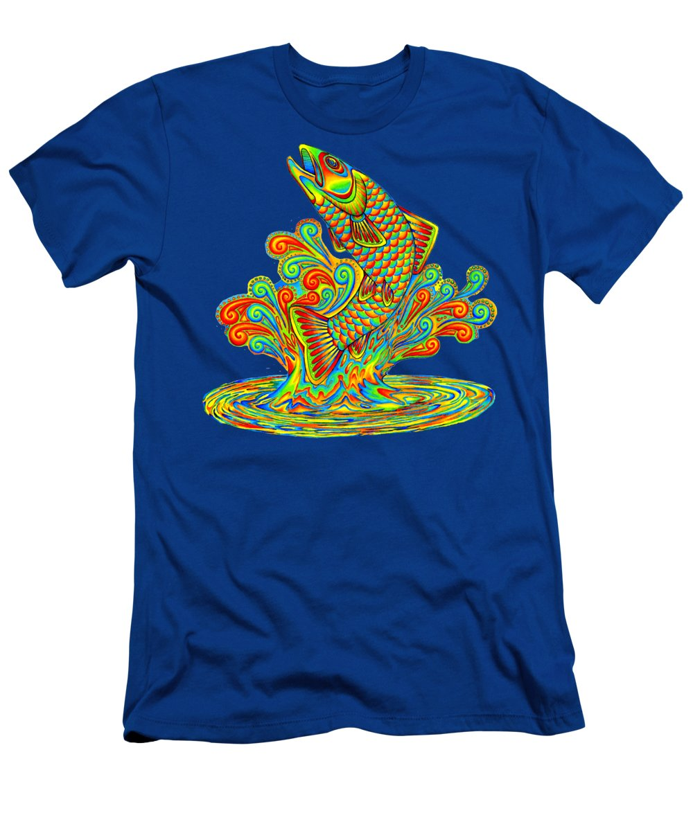 Psychedelic Men's T-Shirt (Athletic Fit) featuring the drawing Rainbow Trout by Rebecca Wang