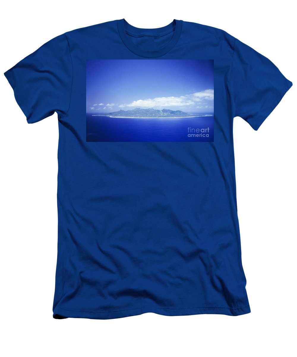 Aerial Men's T-Shirt (Athletic Fit) featuring the photograph Rarotonga Aerial by Kyle Rothenborg - Printscapes