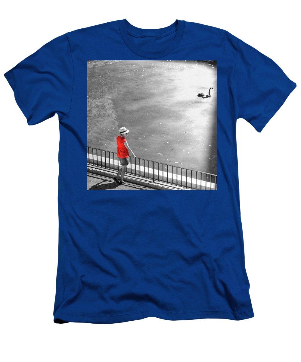 Palmademallorca T-Shirt featuring the photograph Red Shirt, Black Swanla Seu, Palma De by John Edwards