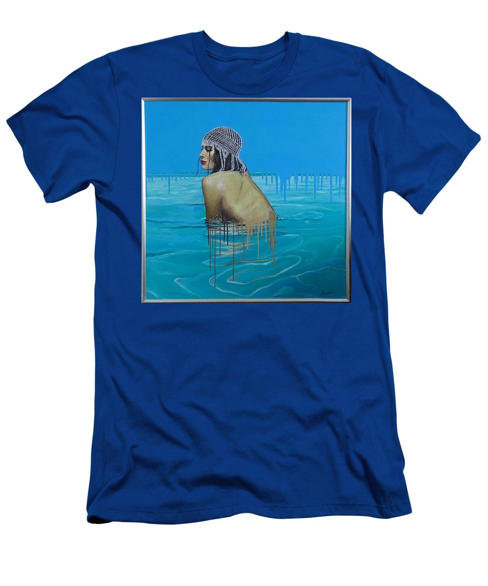Beauty Men's T-Shirt (Athletic Fit) featuring the painting Rela In The Sea by Polina Kamenska
