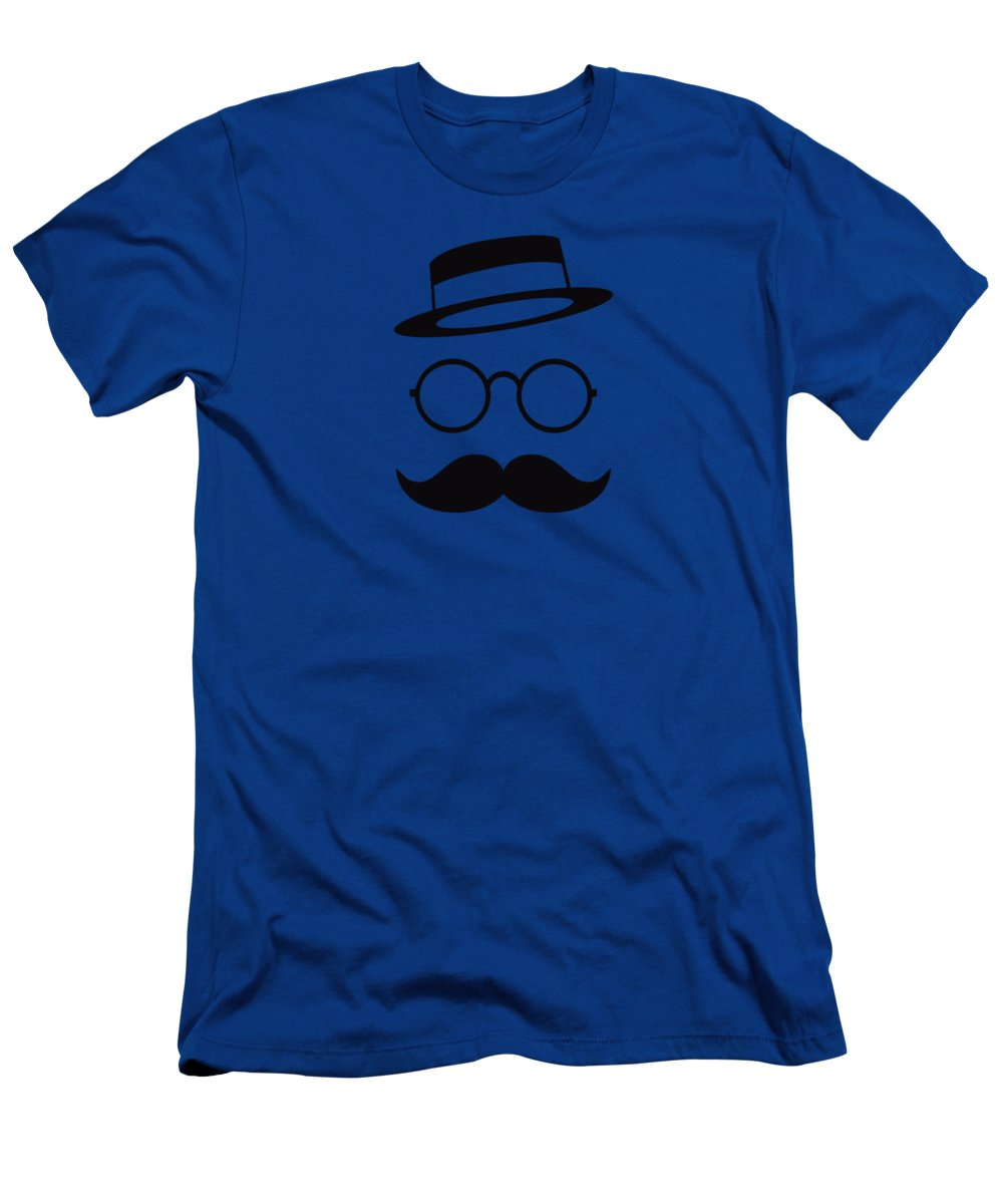 Les Claypool T-Shirt featuring the digital art Retro Minimal vintage face with Moustache and Glasses by Philipp Rietz