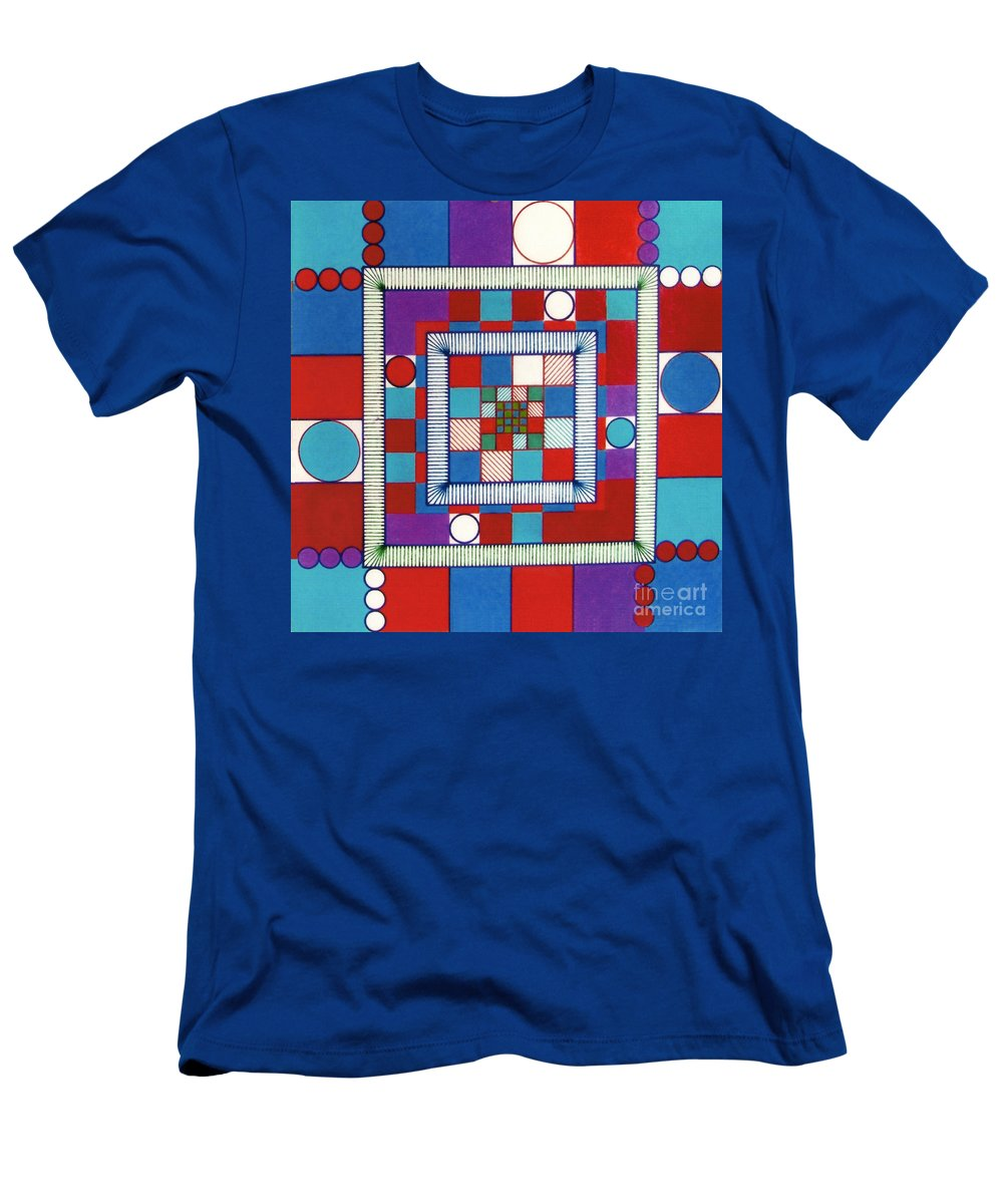 Square Logic Men's T-Shirt (Athletic Fit) featuring the drawing Rfb0564 by Robert F Battles