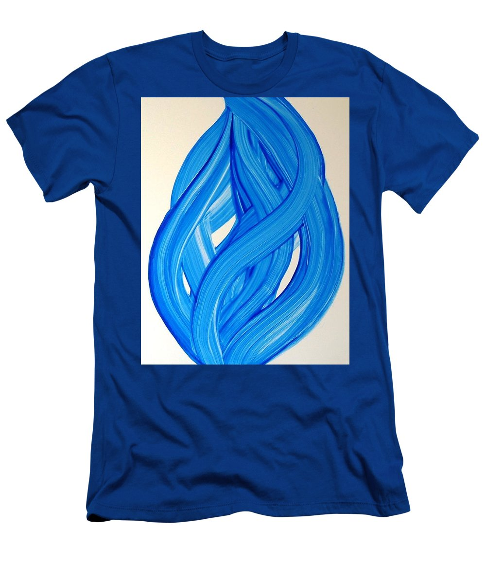 Abstract Modern Contemporary Yupo Art Painting Romantic Pop Blue Men's T-Shirt (Athletic Fit) featuring the painting Ribbons Of Love-blue by Manjiri Kanvinde