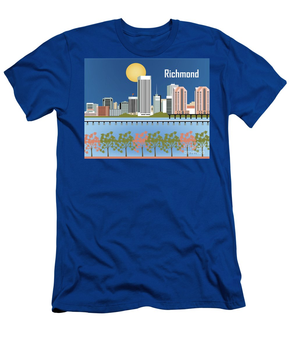 Richmond Men's T-Shirt (Athletic Fit) featuring the digital art Richmond Virginia Horizontal Skyline by Karen Young