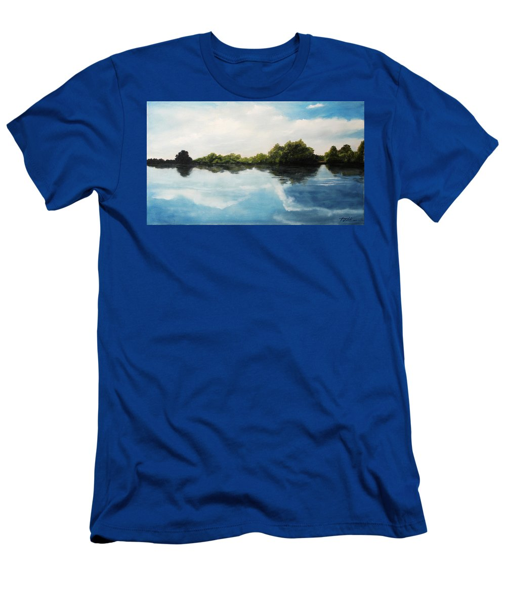 Landscape T-Shirt featuring the painting River of Dreams by Darko Topalski