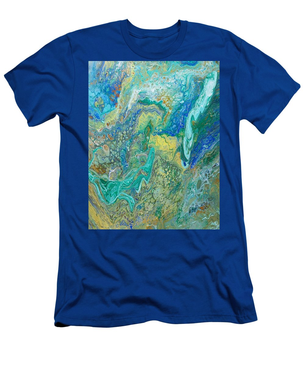 Blue Green Flow Movement T-Shirt featuring the painting River by Valerie Josi
