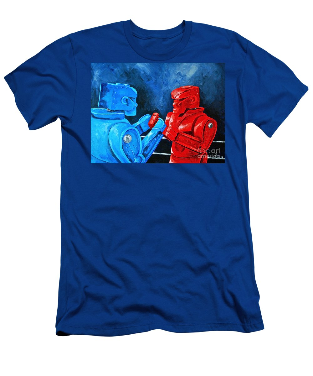 Toys And Games Rockem Sockem Old Toys And Games Men's T-Shirt (Athletic Fit) featuring the painting Rockem Sockem 2 The Rematch by Herschel Fall