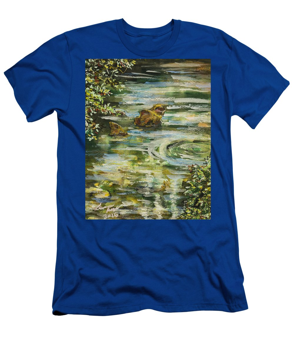 Watercolor Men's T-Shirt (Athletic Fit) featuring the painting Rocks In A Stream by Laura Ross