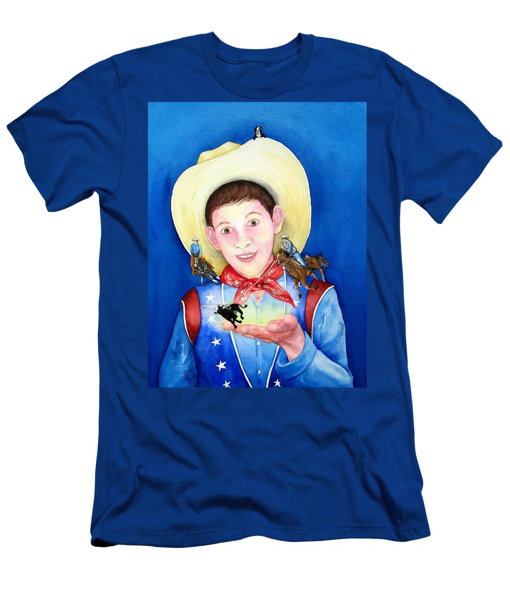 Boy Men's T-Shirt (Athletic Fit) featuring the painting Rodeo Magic by Gale Cochran-Smith