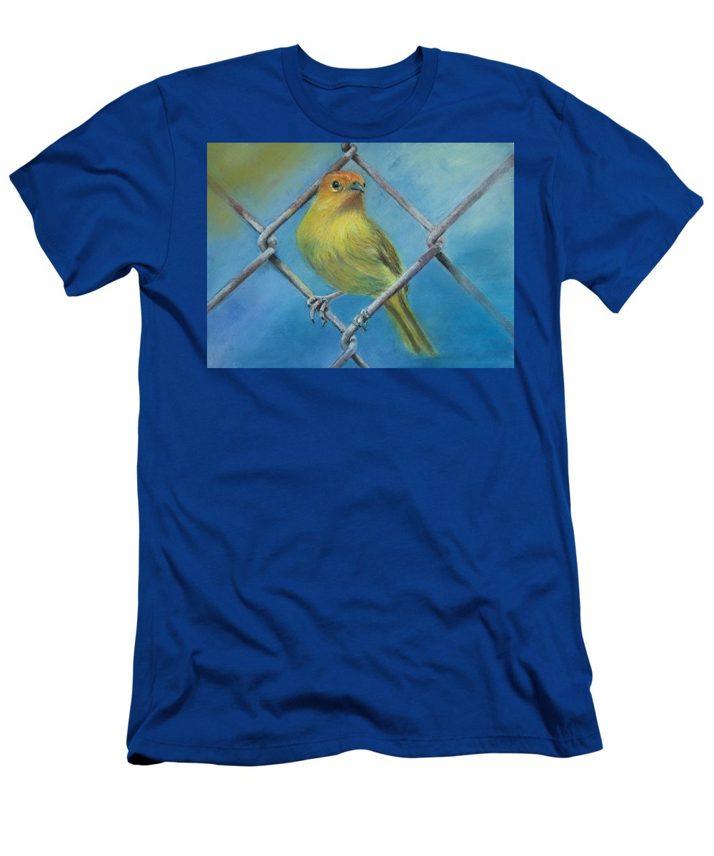 Bird Men's T-Shirt (Athletic Fit) featuring the painting Safron Finch by Ceci Watson