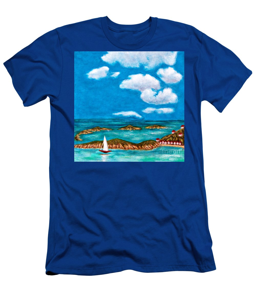 Anne Alfaro Men's T-Shirt (Athletic Fit) featuring the painting Sail Around The Islands by Anne Alfaro