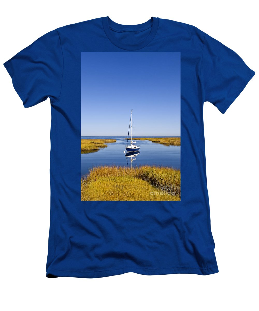 Nobody Men's T-Shirt (Athletic Fit) featuring the photograph Sailboat In Salt Marsh by John Greim