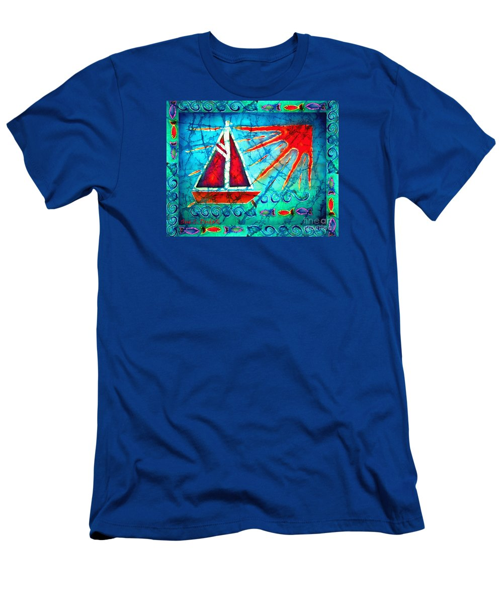 Sailboat Men's T-Shirt (Athletic Fit) featuring the painting Sailboat In The Sun by Sue Duda