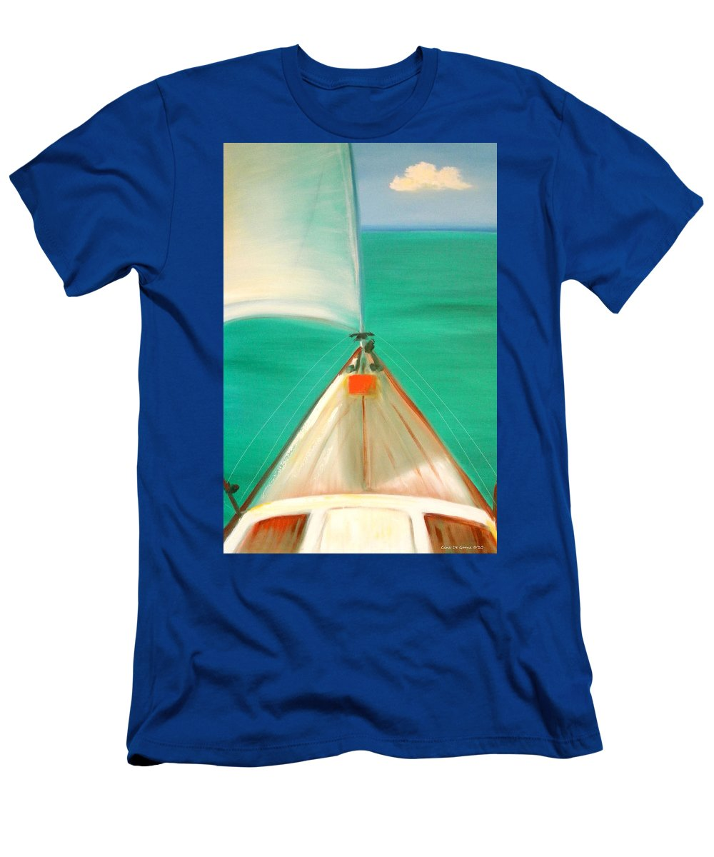 Sea Men's T-Shirt (Athletic Fit) featuring the painting Sailing by Gina De Gorna