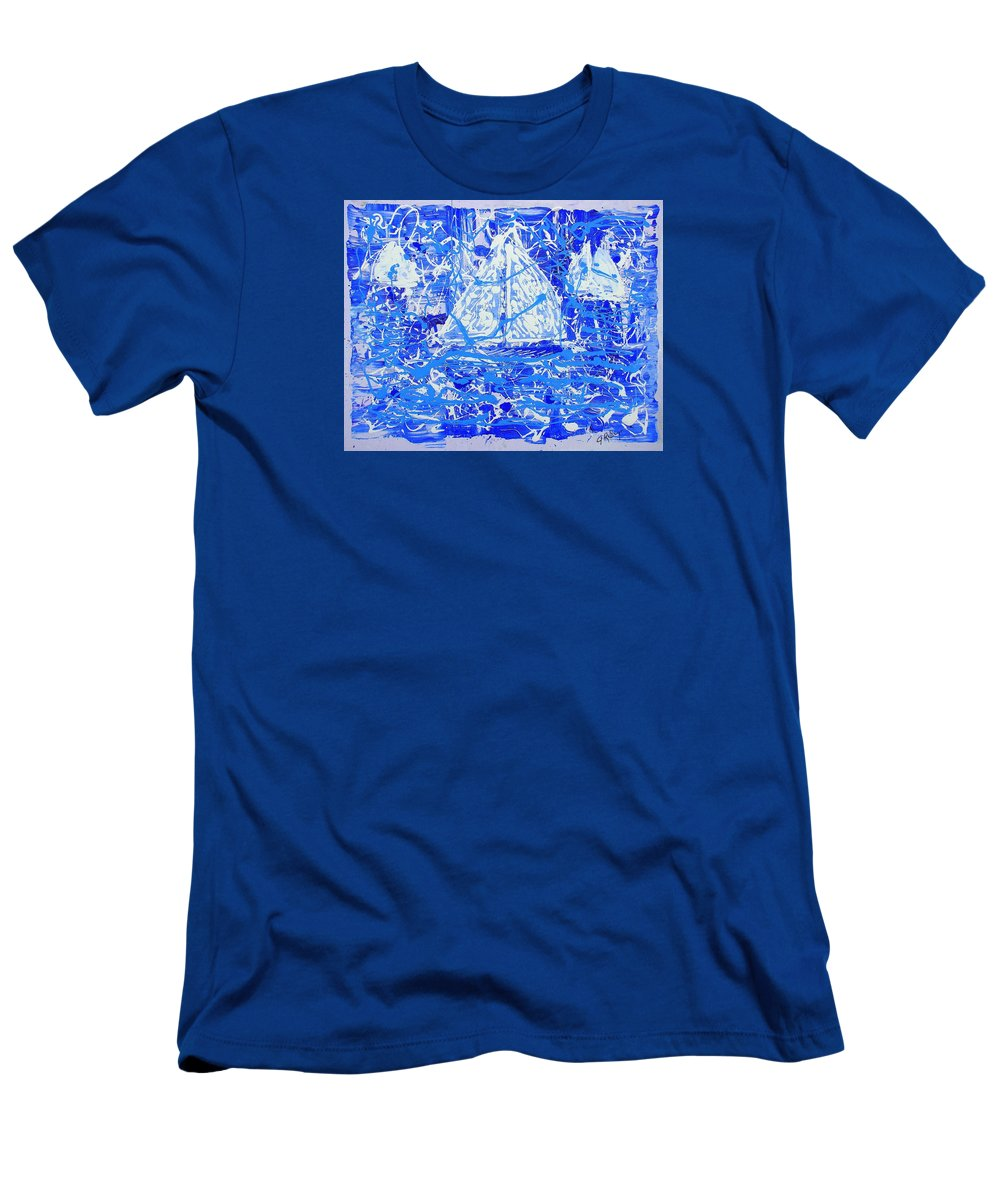 Sailing Men's T-Shirt (Athletic Fit) featuring the painting Sailing With Friends by J R Seymour