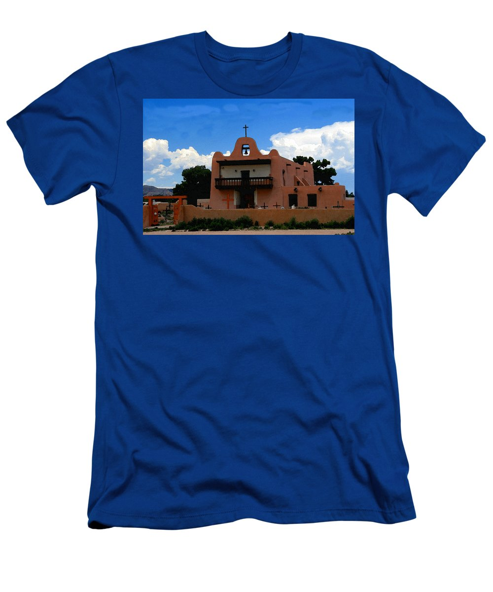 San Ildefonso Pueblo New Mexico Men's T-Shirt (Athletic Fit) featuring the painting San Ildefonso Pueblo by David Lee Thompson