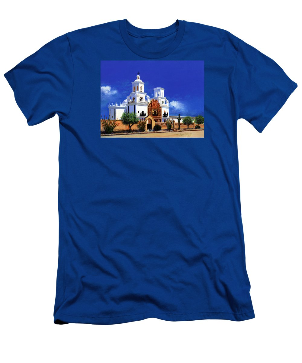 San Men's T-Shirt (Athletic Fit) featuring the painting San Xavier Del Bac Mission by M Diane Bonaparte