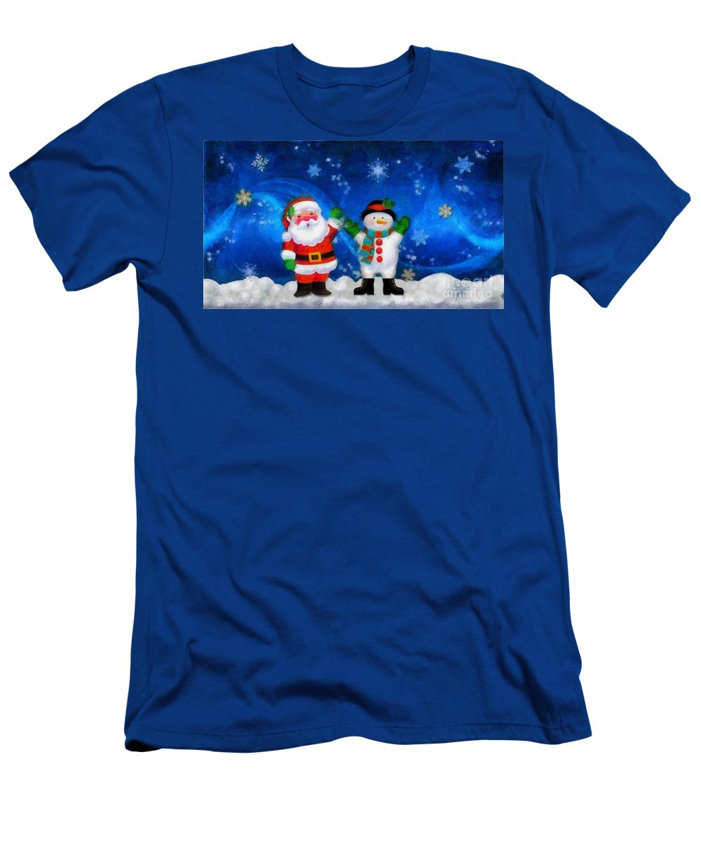 Santa And Frosty Painting Image With Canvased Texture Men's T-Shirt (Athletic Fit) featuring the painting Santa And Frosty Painting Image With Canvased Texture by Catherine Lott