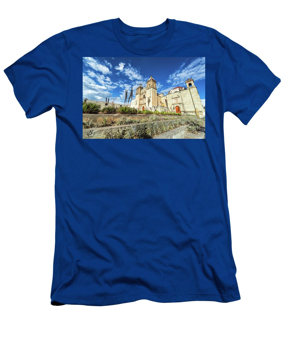 Oaxaca Men's T-Shirt (Athletic Fit) featuring the photograph Santo Domingo Church Wide Angle by Jess Kraft