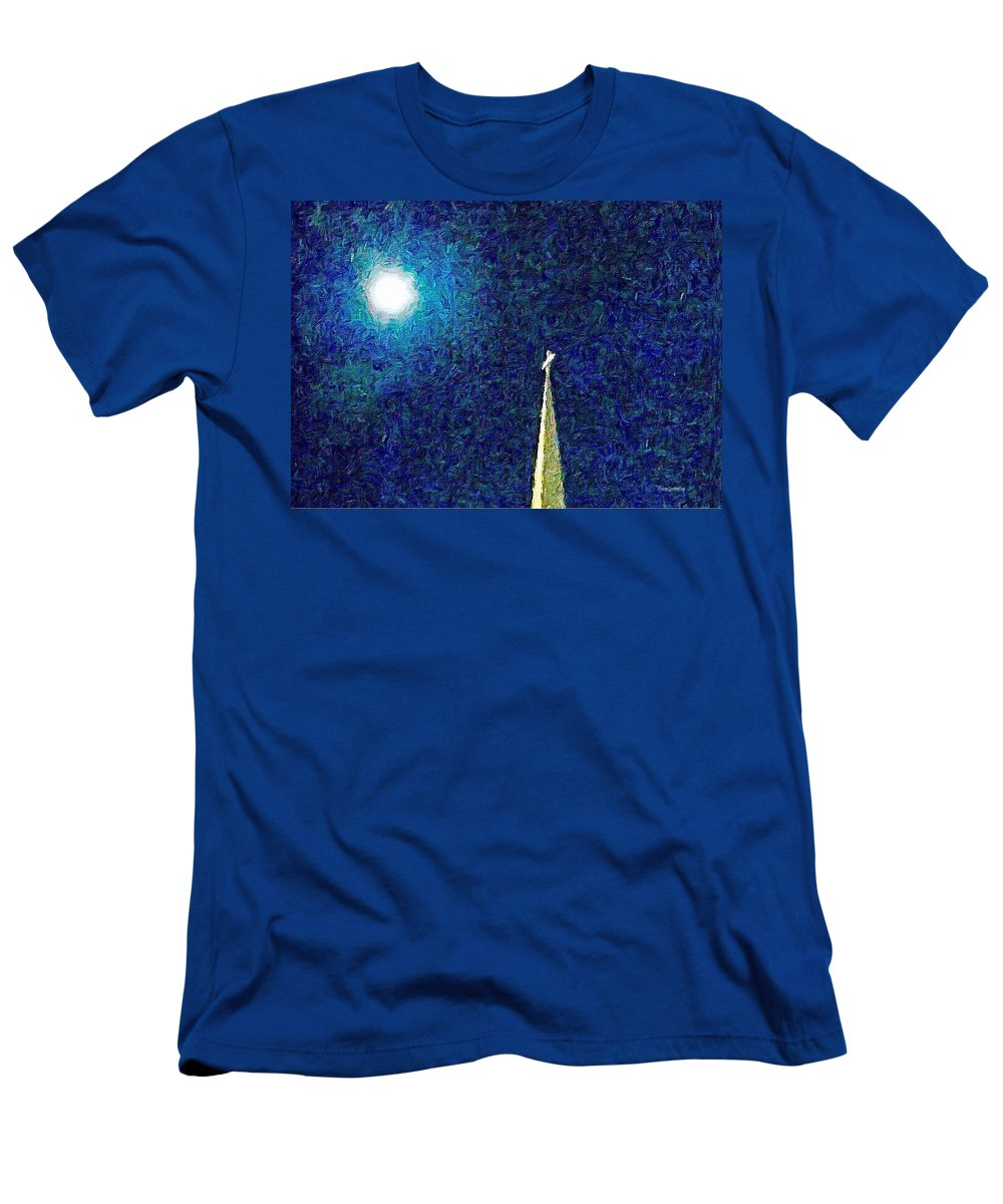 Moon Men's T-Shirt (Athletic Fit) featuring the photograph Sapphire Moon Glow by Diane Lindon Coy