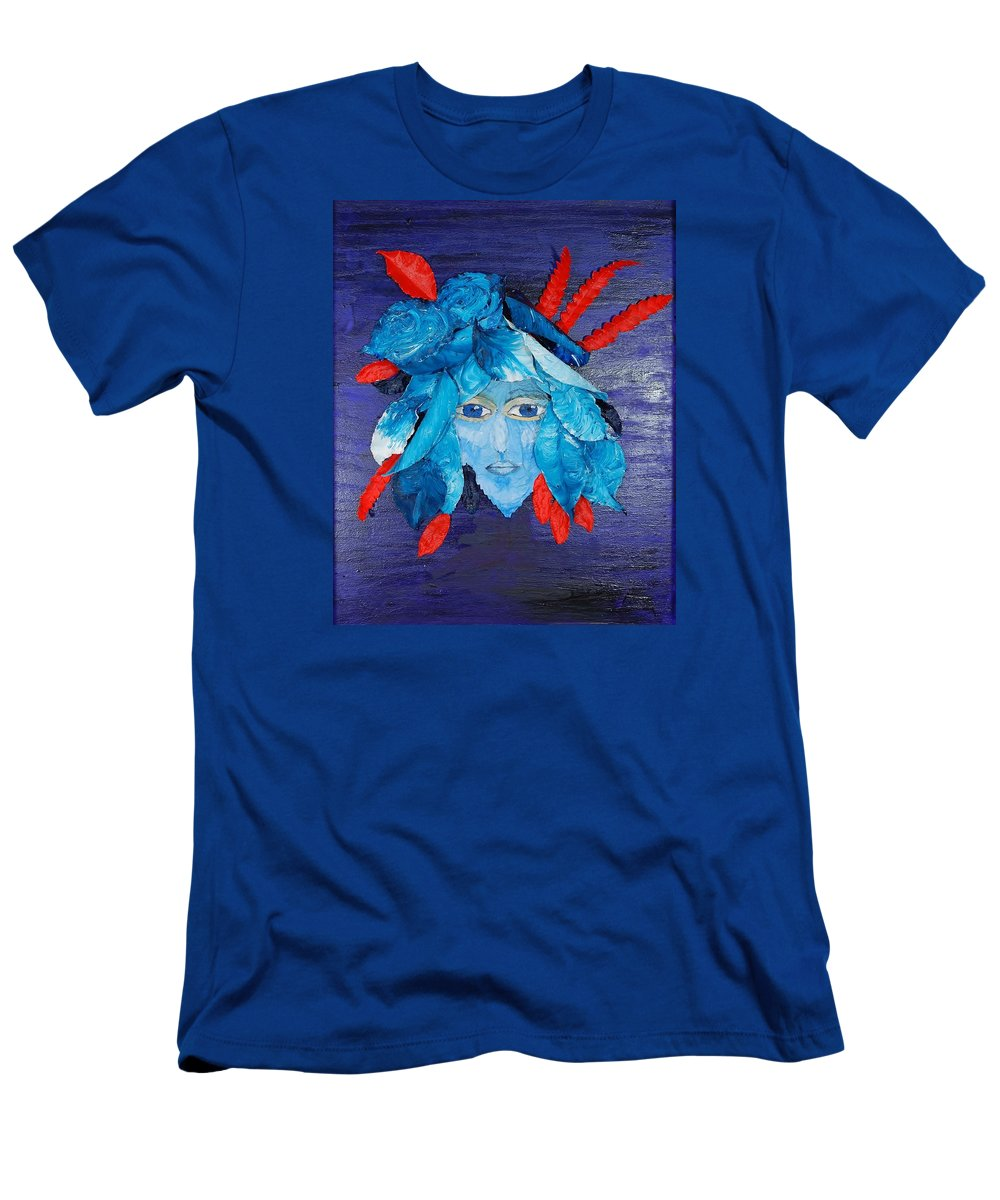 Leaves T-Shirt featuring the mixed media Sassy Lady Blue by Charla Van Vlack