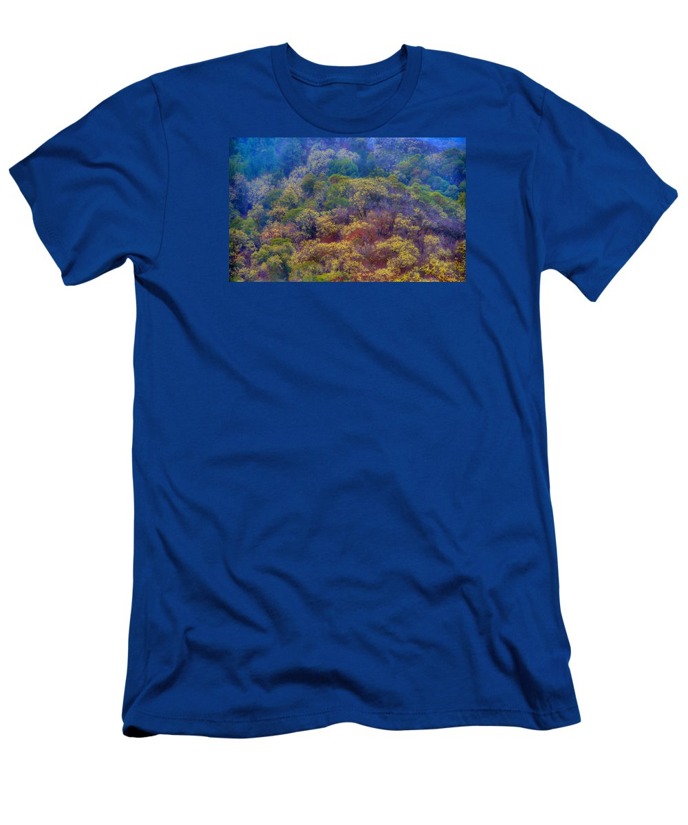 Trees Men's T-Shirt (Athletic Fit) featuring the photograph Saturated Forest by Josephine Buschman