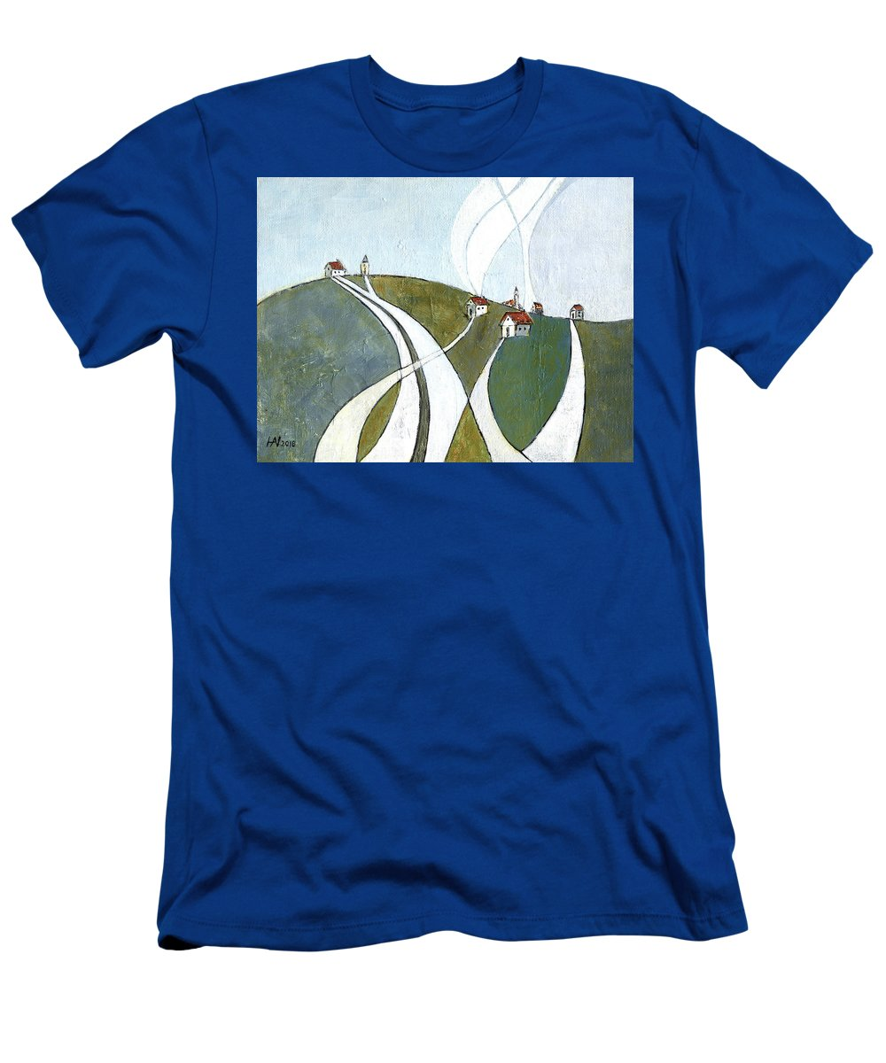 Painting T-Shirt featuring the painting Scattered houses by Aniko Hencz