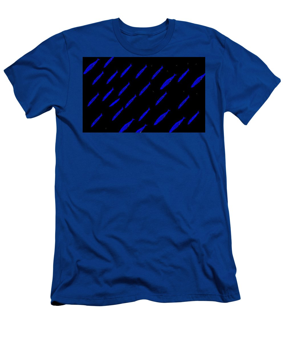 Saltwater Fish Men's T-Shirt (Athletic Fit) featuring the digital art School Of Blue Fish At Night by Robert Rodriguez