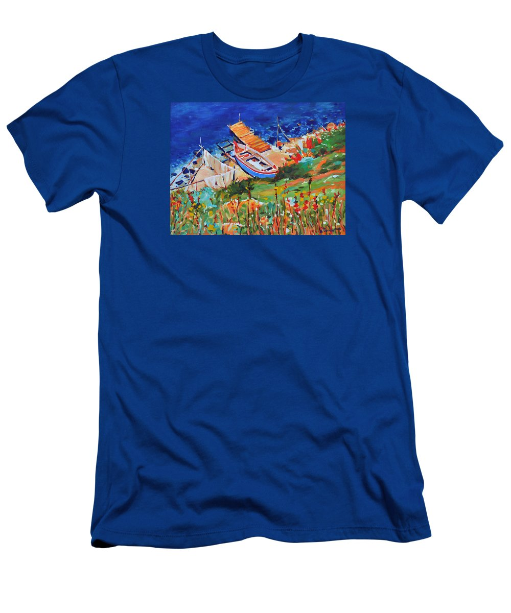 Seascape Men's T-Shirt (Athletic Fit) featuring the painting Seacoast by Iliyan Bozhanov
