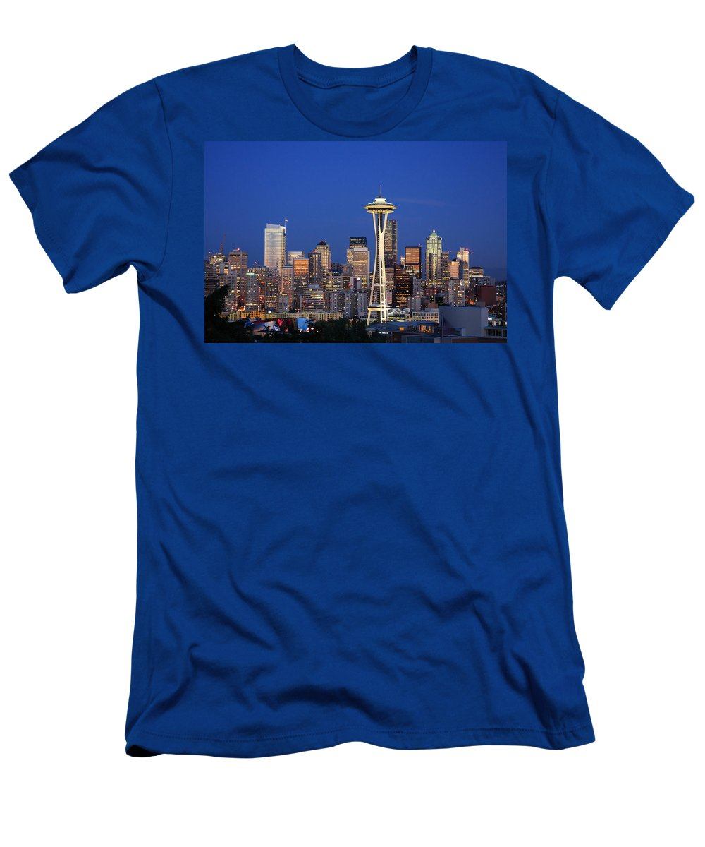 3scape Photos Men's T-Shirt (Athletic Fit) featuring the photograph Seattle At Dusk by Adam Romanowicz