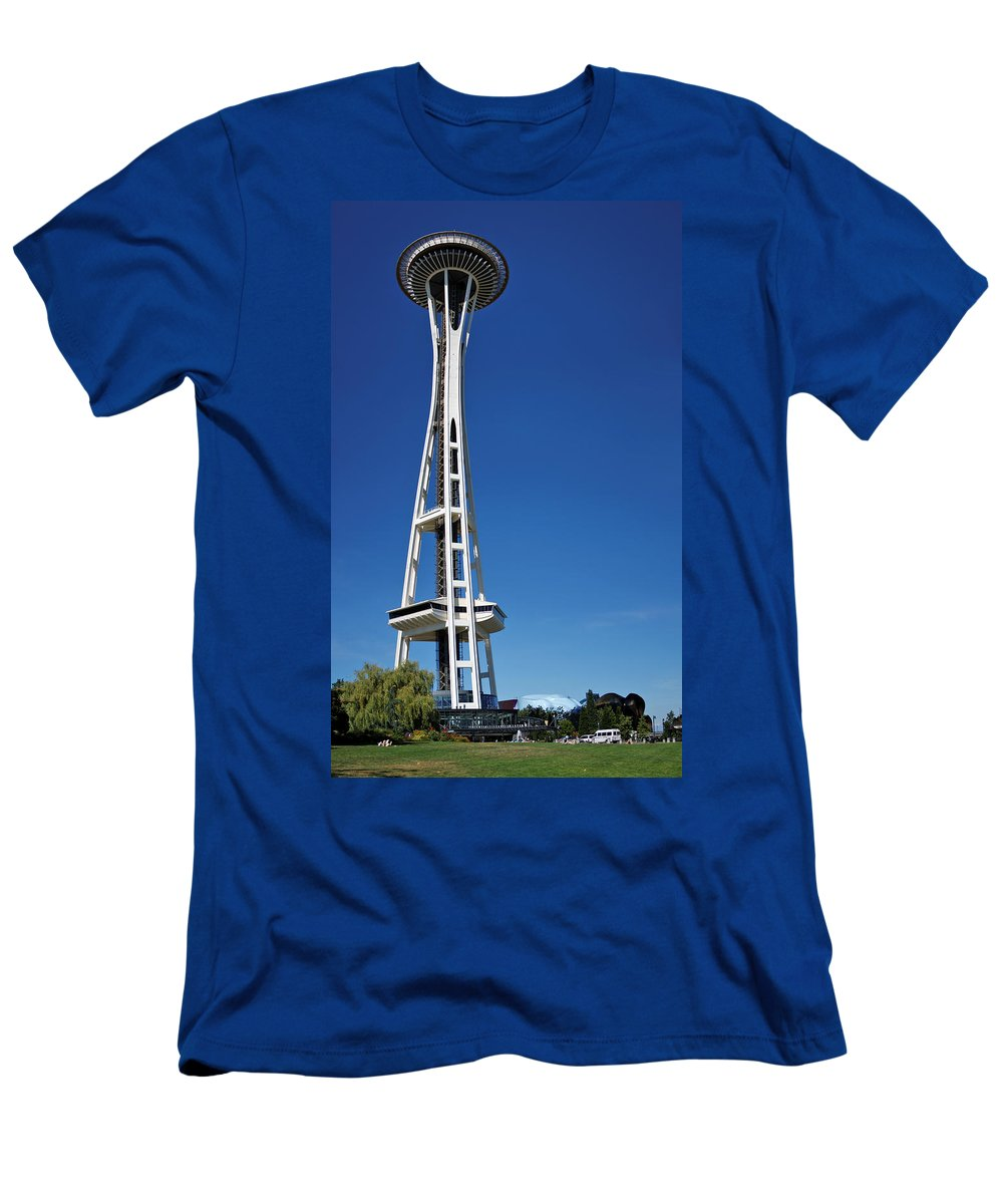 3scape Men's T-Shirt (Athletic Fit) featuring the photograph Seattle Space Needle by Adam Romanowicz