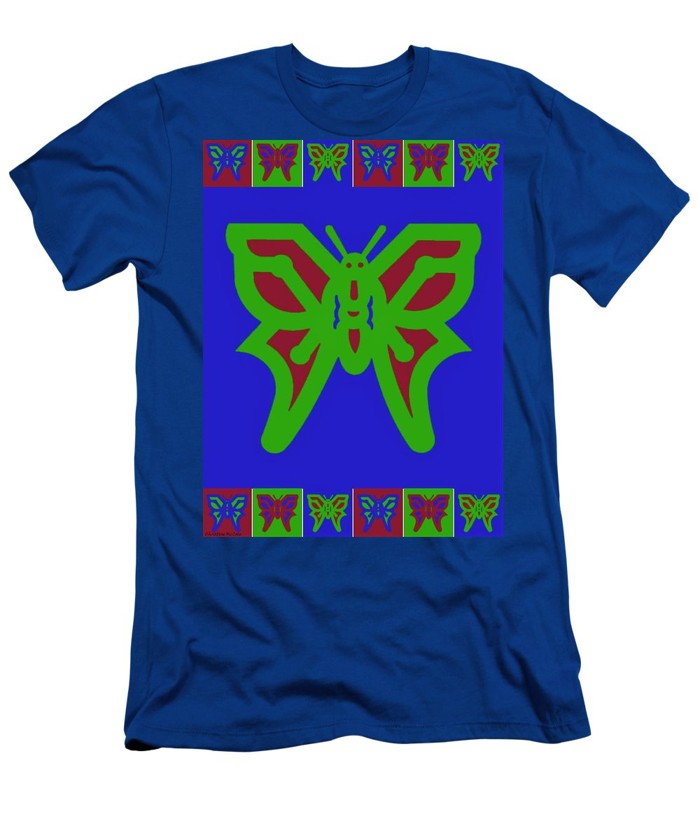 Butterflies Men's T-Shirt (Athletic Fit) featuring the tapestry - textile Serendipity Butterflies Blueredgreen 6of15 by Christine McCole