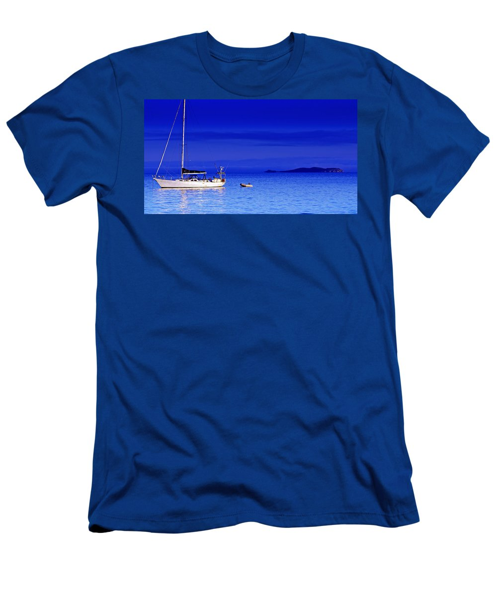 Transportation. Boats Men's T-Shirt (Athletic Fit) featuring the photograph Serene Seas by Holly Kempe