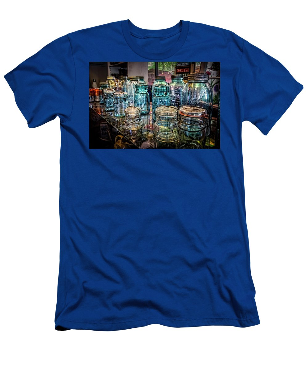 Appalachia Men's T-Shirt (Athletic Fit) featuring the photograph Shiny Glass Jars by Debra and Dave Vanderlaan