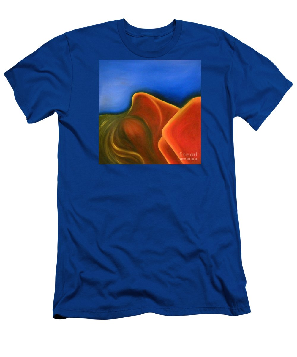 Woman Paintings Men's T-Shirt (Athletic Fit) featuring the painting Sinuous Curves Iv by Fanny Diaz