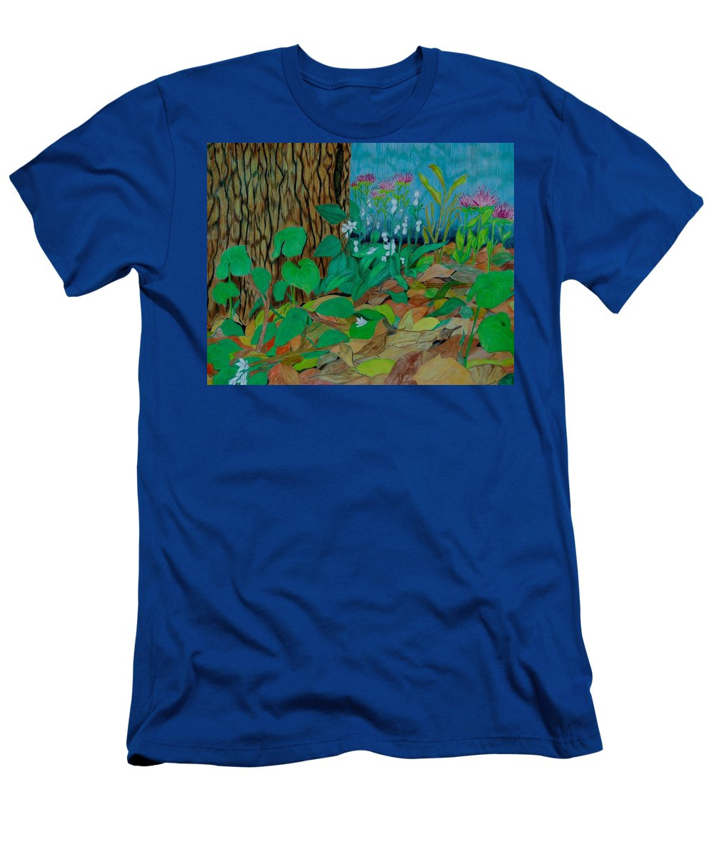 Tree T-Shirt featuring the mixed media Six in hiding by Charla Van Vlack