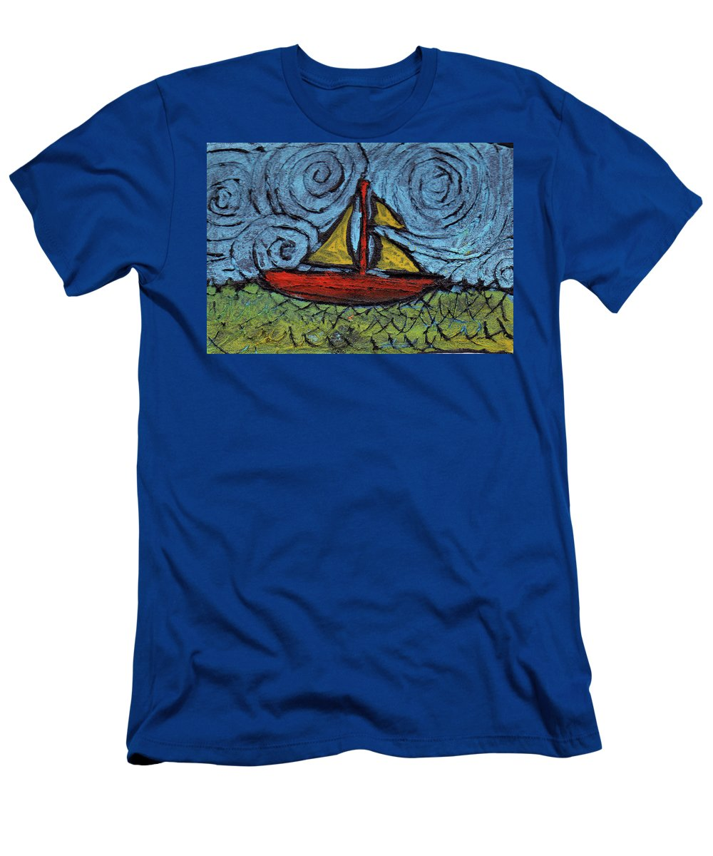 Sail Men's T-Shirt (Athletic Fit) featuring the painting Small Boat With Yellow Sail by Wayne Potrafka